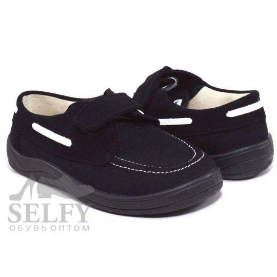 Туфли текстильные Топ-сайдери черная подошва