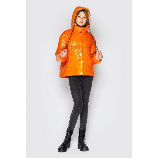 Куртка Мэнди из лаковой плащевки оранжевая