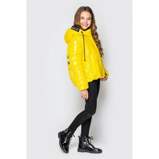Куртка Мэнди из лаковой плащевки желтая