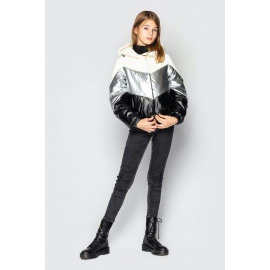 Куртка Миранда  молочно - серебристая