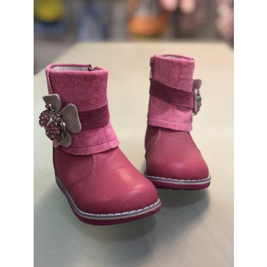 Ботинки 03014 розовые брошка