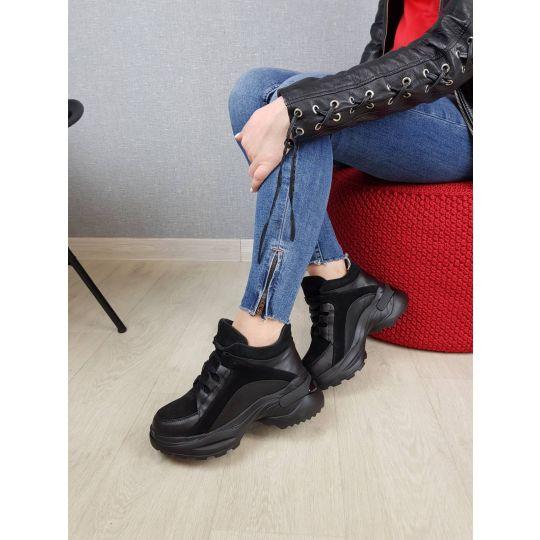 Кроссовки ботинки демисезонные Роуз черные байка