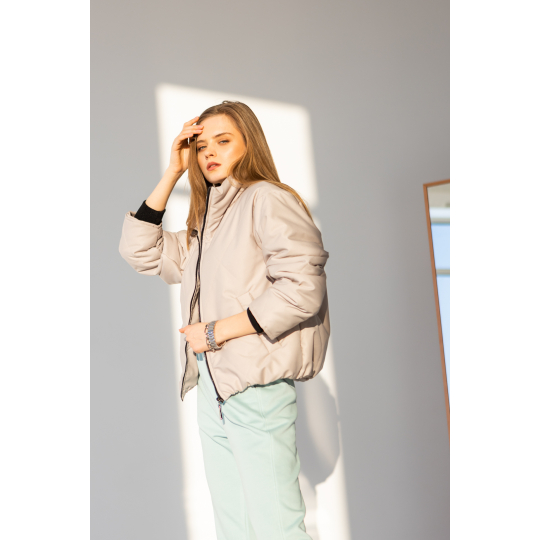 Куртка Семелия 6510 серо-бежевая