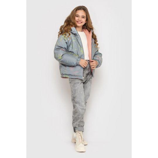Куртка двухсторонняяТрикси серо-пудровая