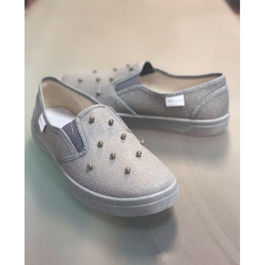 Туфли текстильные серебро Вика перлинки