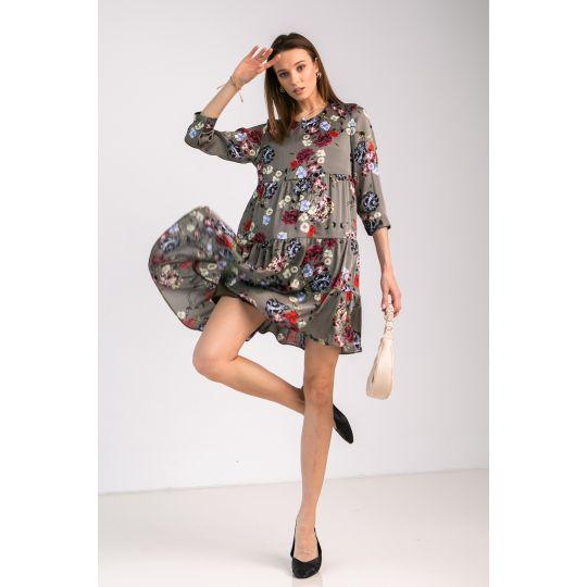 Платье Милея 7032 серо-мятное