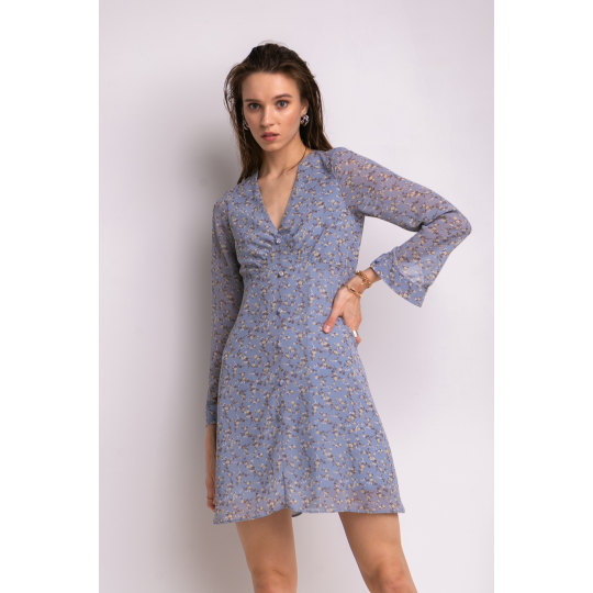 Платье Мальвизия 7036 серо-голубое