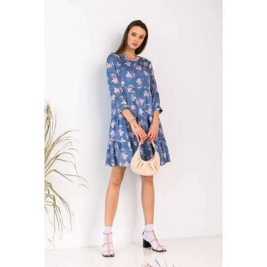 Платье Милея 7034 васильковое