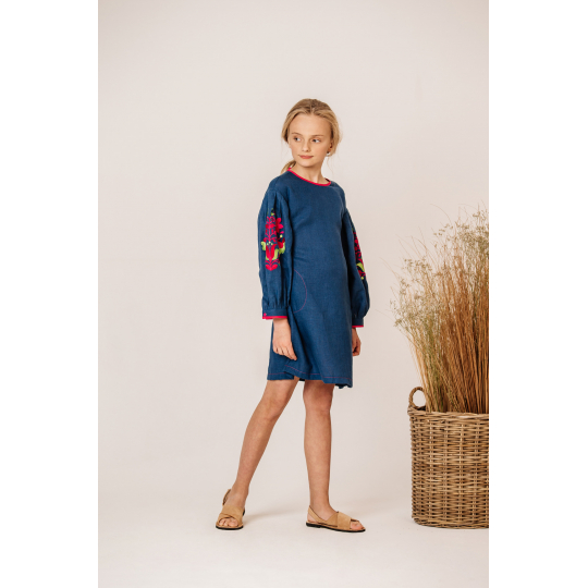 Платье вышиванка Мальва малиновое