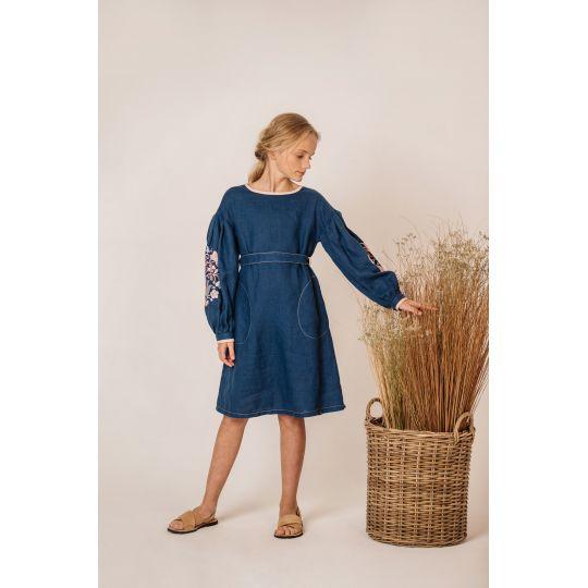 Платье вышиванка Мальва розовое