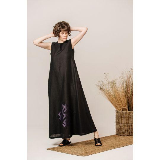 Платье вышиванка Сварга черное В