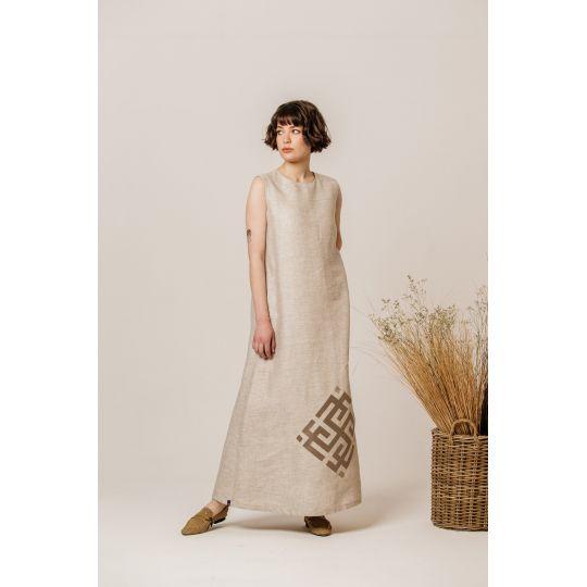 Платье вышиванка Сварга бежевое В