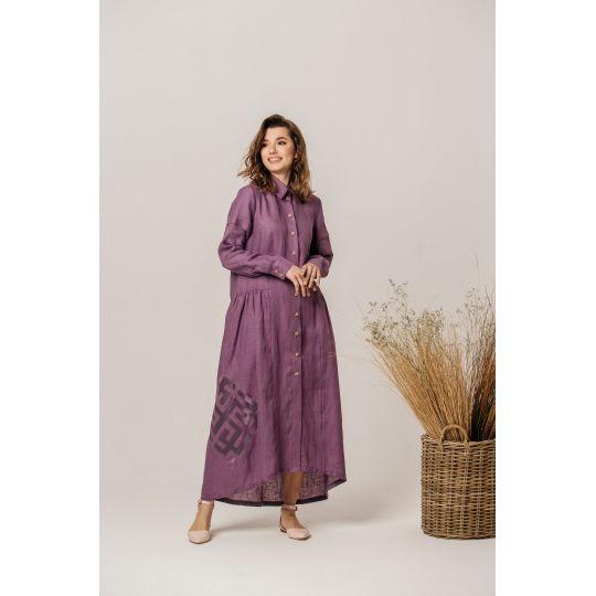Платье вышиванка Адель фиолетовое В