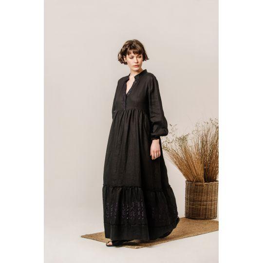 Платье вышиванка Маргарита черное В