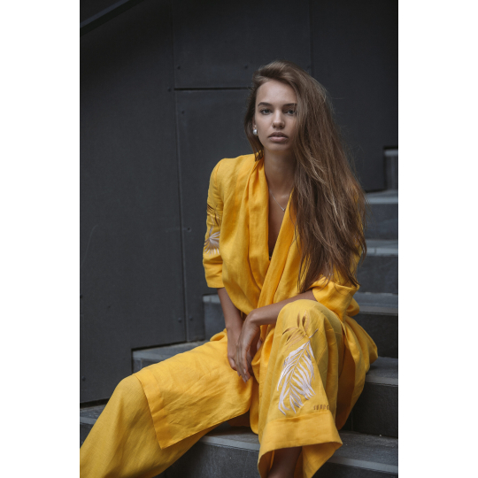 Штаны вышиванка Манго золотистый