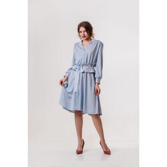 Платье вышиванка Аурика голубая В