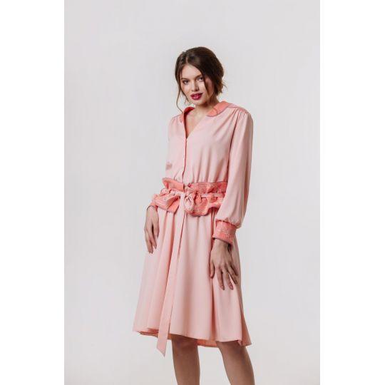 Платье вышиванка Аурика персиковое В