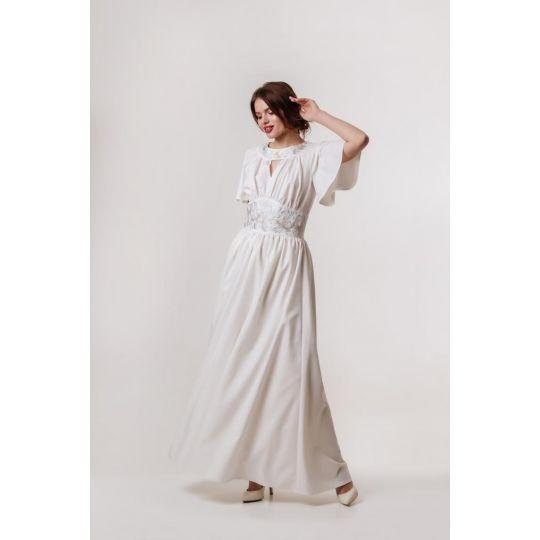 Платье вышиванка Вероника белое длинное В