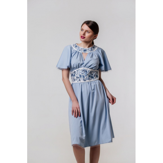 Платье вышиванка Вероника голубое короткое В