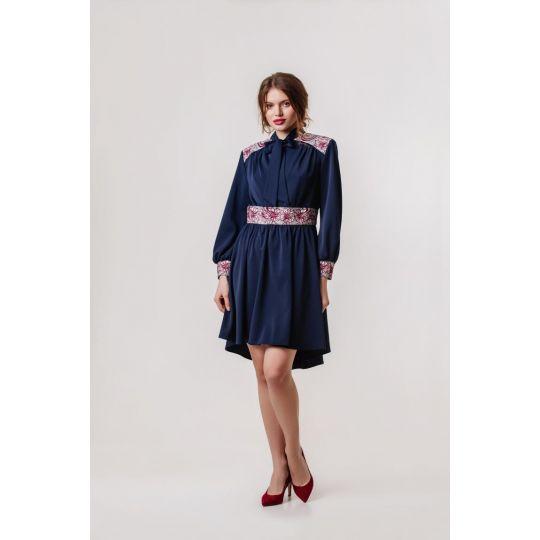 Платье вышиванка Жоржета синие короткое В