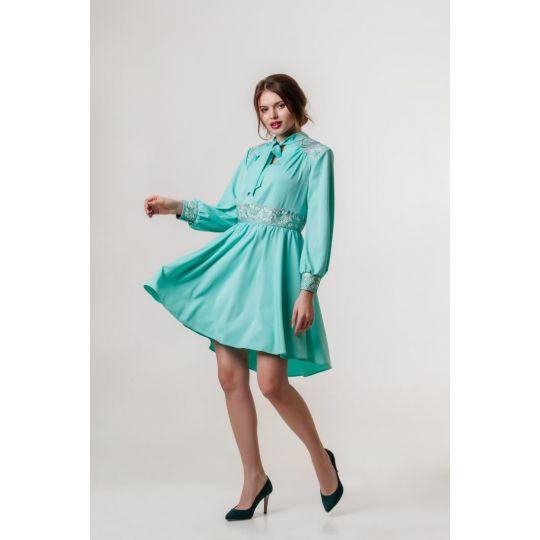 Платье вышиванка Жоржета бирюзовое короткое В