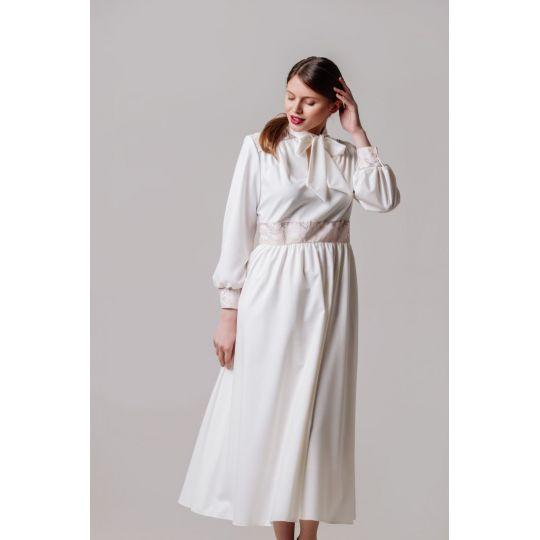 Платье вышиванка Жоржета белое длинное В