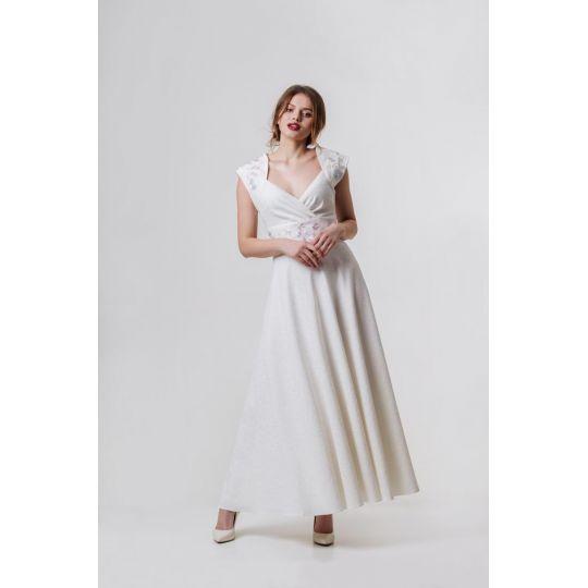 Платье вышиванка Лилея белое длинное В