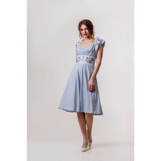 Платье вышиванка Лилея голубое короткое В