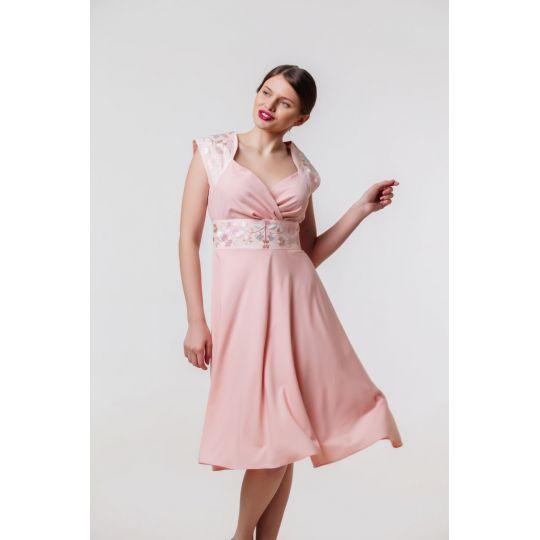 Платье вышиванка Лилея персиковое короткое В