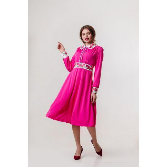 Платье вышиванка Панянка фуксия короткое В