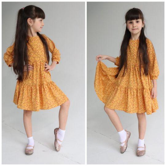 Платье 1369 горчица