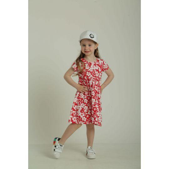 Платье 40933 красное в цветочек