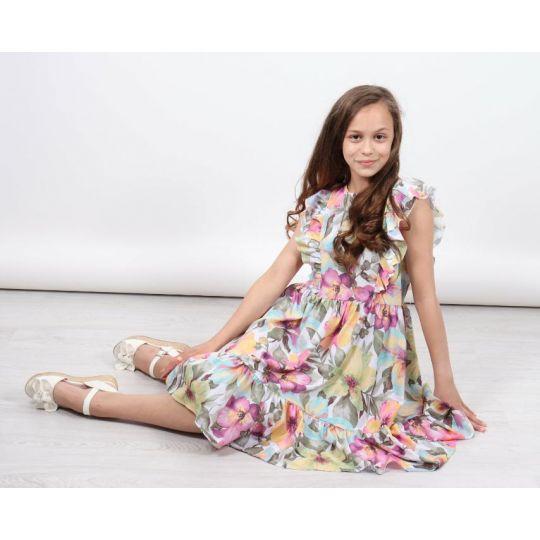 Платье 1402 розовое цветочек