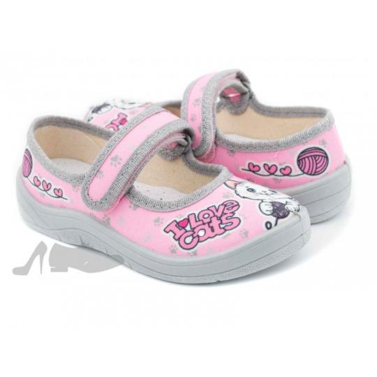 Туфли текстильные 360-312 Алина розовые котик