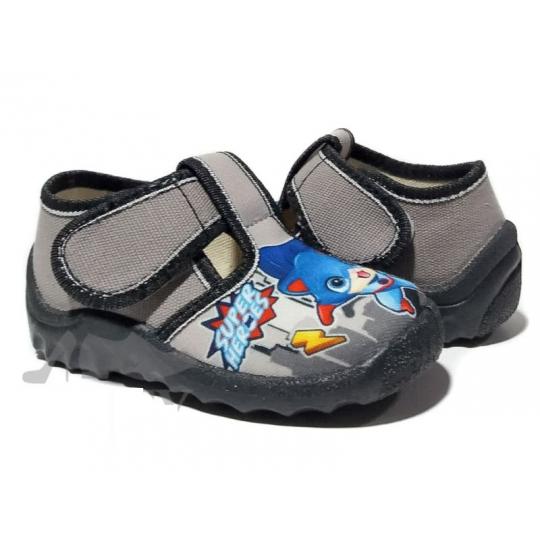 Туфли текстильные 360/240-406 серые, super heroes