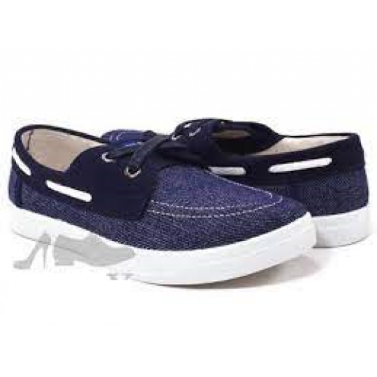 Туфли текстильные 225-030-1 синие, белая подошва