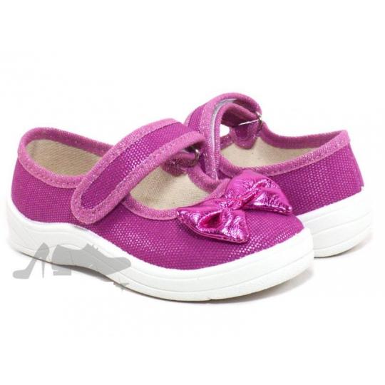 Туфли текстильные 243-715 Алина розовые, розовый бант