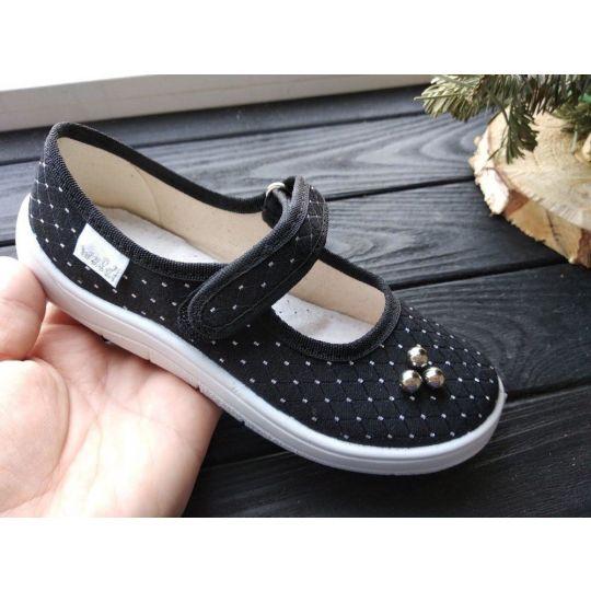 Туфли текстильные 359-794 Алина черные с белыми точками, жемчужинки