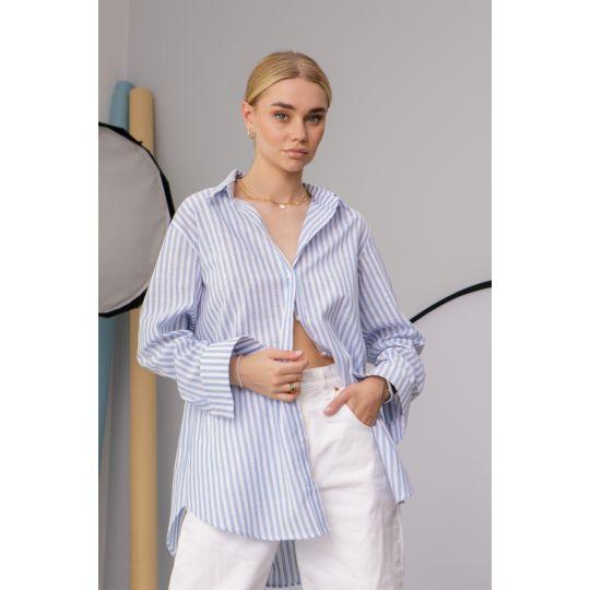 Рубашка Cабэсти 7638 голубая широкая полоска
