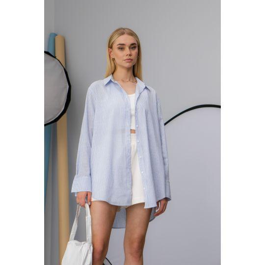 Рубашка Cабэсти 7639  тёмно-джинсовая узкая полоска