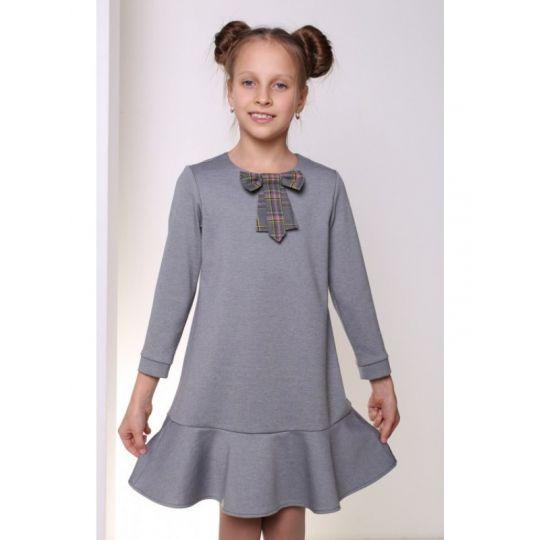 Платье для девочка ДШФ-115 серое