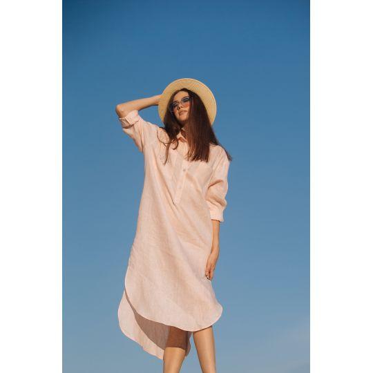 Вышиванка платье рубашка Ника розовая В
