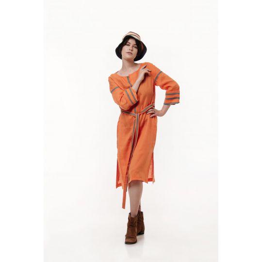Вышиванка платье туника Руна оранжевая В