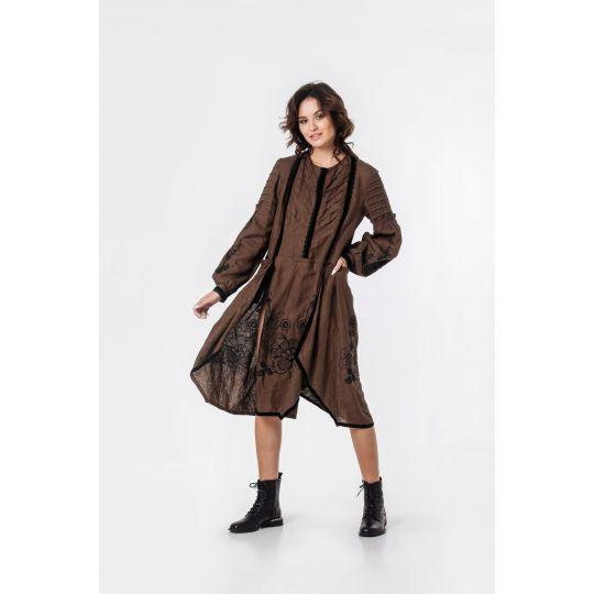 Вышиванка платье Черная мальва коричневая В