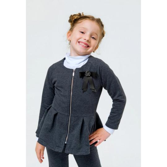 Жакет трикотажный для девочки 116449/116450 темно-серый меланж