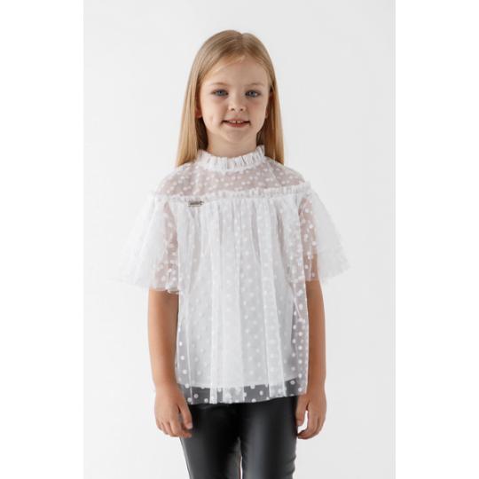 Блуза Любава молочный горох