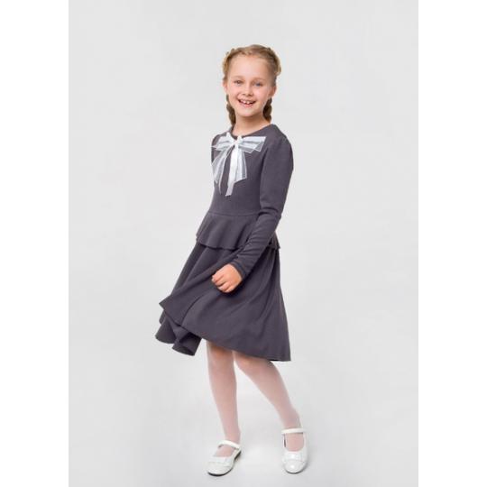 Платье с бантом 120260 темно-серый меланж трикотаж