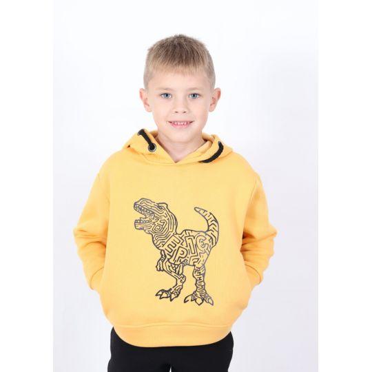 Худи с начесом Динозавр желтый