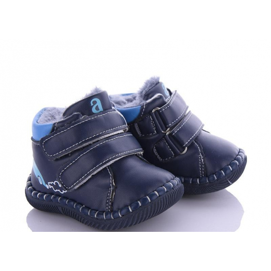 Ботинки пинетки Машинка синие FD114