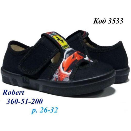 Туфли текстильные Robert черные с красной машиной 360/51-200